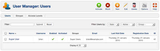 default joomla 1.6 superuser