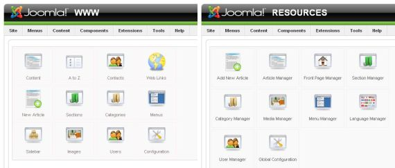 joomla admin difference